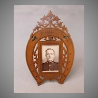 Hand Crafted Victorian Olive Wood Frame w/ Inlaid Swallows