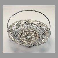 Vintage Silverplate Fern and Egg Basket Card Holder