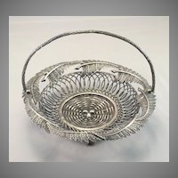 Vintage Silverplate Fern and Egg Basket Card Holder