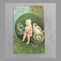 German Returns of the Day Postcard w/ Girl ,  Blue Tit, Goldfinch