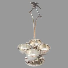 Victorian Silver Plate Condiment Server with Pheasant