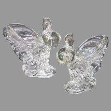 Heisey Depression Rooster Vase Pair