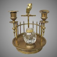 Vintage Art Deco Brass Cockatoo Inkwell Candleholder