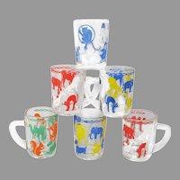 Italian Children's Glass Mug Set with Duck Scottie Elephant Cat
