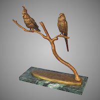 Large Vintage Budgie Cockatoo Bronze from France on Marble