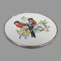 Vintage Wallace Sterling Porcelain European Bullfinch Hotplate Trivet