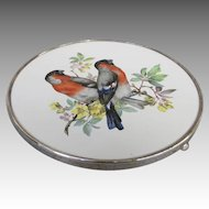 Vintage Wallace Sterling Porcelain European Bullfinch Hotplate Trivet