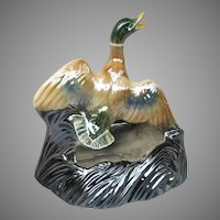Mid Century Luster Mallard Duck TV Lamp Planter