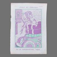Art Deco French Woman Parakeet Magazine Cover