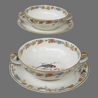 Haviland Limoges Arcadia Cream Soup Set with Parrot