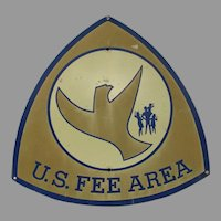 Vintage Park Service US Fee Area Sign with Flying Eagle