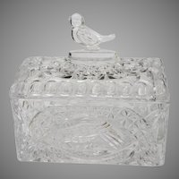 Hofbauer German Crystal Bird Jewelry Box Casket