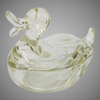 Vintage Jeanette Glass Duck Powder Jar