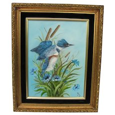 Original Kingfisher Bird Oil Painting