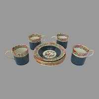 Old Worcester Parrot Demitasse Coffee Cup Set of THREE