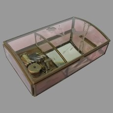 Vintage Glass Music Jewelry Box with Etched Bird