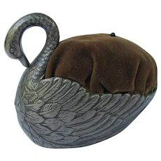 Vintage Metal Swan Pin Cushion