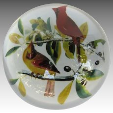 Vintage Glass Paperweight with Cardinals
