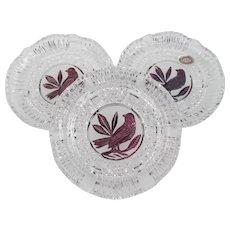 Flashed Byrdes Crystal Plates Set Like Hofbauer