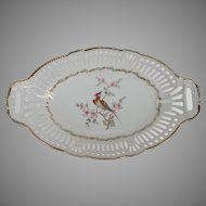 Schwarzenhammer Germany Reticulated Serving Bowl with Exotic Bird