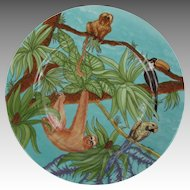 Victoria Porcelain Venezuela Plate with Macaw Toucan Sloth Monkey