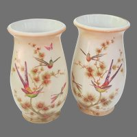 Vintage Crown Ducal England Vase Pair with Bee Eaters Dragonflies