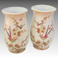Vintage Crown Ducal England Vase Pair with Bee Eaters Dragonflies