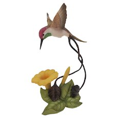 Franklin Mint Bronze Porcelain Coquette Hummingbird Figurine