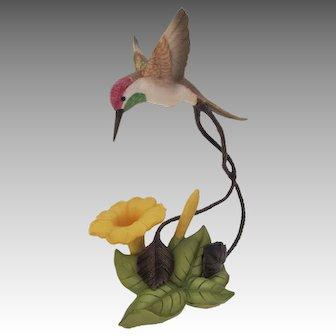 Franklin Mint Bronze Porcelain Coquette Hummingbird Figurine