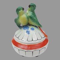 Art Deco Parakeet Lovebird Powder Jar from Germany
