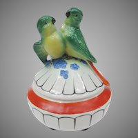 Art Deco Parakeet Lovebird Powder Jar from Germany