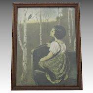 Vintage Spring Song Print Girl Bluebird