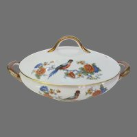 Antique Covered Vegetable Dish Bowl Bird of Paradise Germany