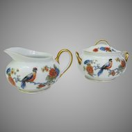Antique Bavaria Bird of Paradise Cream and Sugar Set