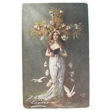 Antique Art Nouveau Easter Postcard with Woman Doves Lilies Cross