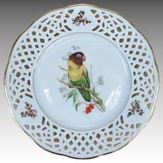 Vintage Black-masked Lovebird reticulated Plate from Germany