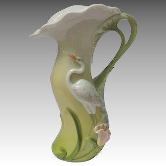 Fine Porcelain Heron Egret Pitcher