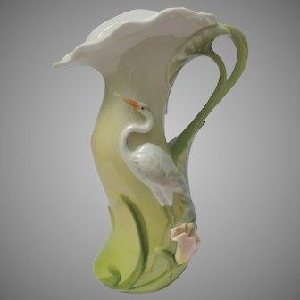Fine Porcelain Heron Egret Pitcher * ON HOLD for Jeanne *