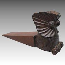 Vintage Mahogany Wood Cockatoo Owl Door Jam Stop