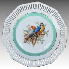 Vintage Reticulated Plate from Germany with Gang Gang Cockatoo and Macaw Parrot
