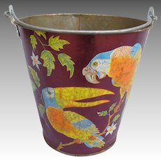 Vintage Ohio Art Tin Litho Sand Pail Bucket with Parrots Toucan Cockatoo Parakeets
