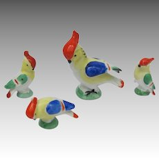Vintage Miniature Cockatoo Figurine Set from Germany