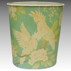 Vintage Metal Trashcan Waste Can with Cockatoo Parrots