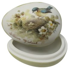 Hand painted Bisque Porcelain Egg Trinket Jar Blue Tit Bird