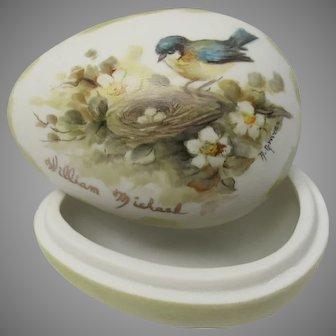 Hand painted Bisque Porcelain Egg Trinket Jar Blue Tit Bird