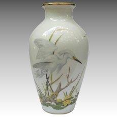 Franklin Mint Snowy Egret Heron vase