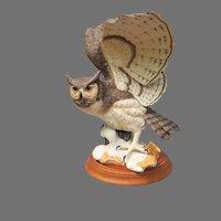 Large Franklin Mint Great Horned Owl Figurine
