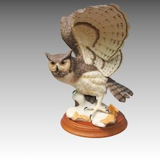 Large Franklin Mint Great Horned Owl Figurine
