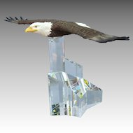 Eagle in Flight Figurine with Crystal Base