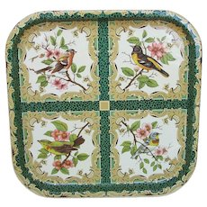 Vintage Daher England Metal Serving Tray with Birds
